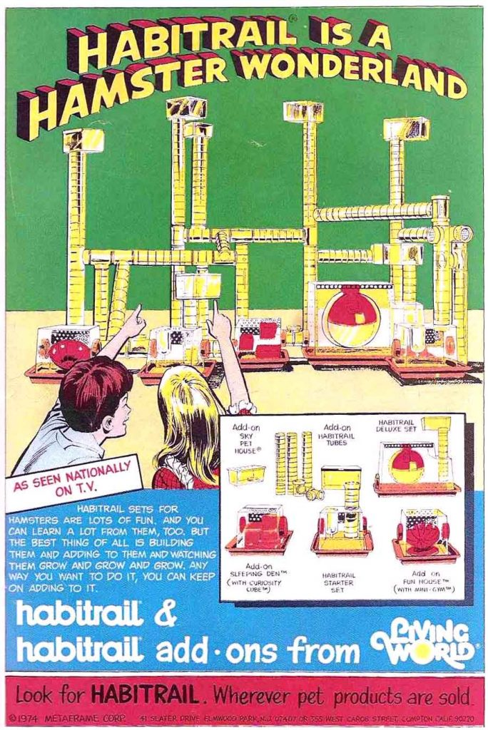 A vintage comic book ad for Habitrail components